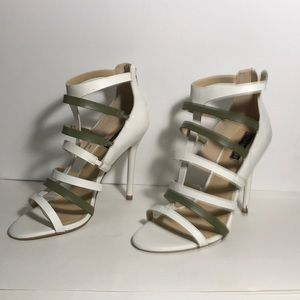 brand new never used, white and olive green straps